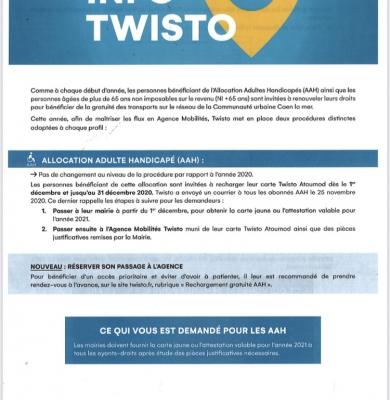 Information Twisto concernant le renouvellement des accès transports gratuits pour les allocataires AAH et les plus de 65 ans non imposable